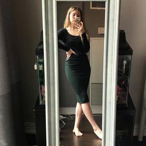 🦋3/50$ deep green ribbed midi skirt